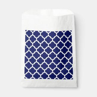 Navy Blue White Moroccan Quatrefoil Pattern #5 Favor Bags