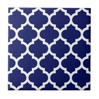 Navy Blue White Moroccan Quatrefoil Pattern #5 Ceramic Tile