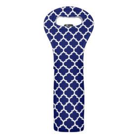 Navy Blue White Moroccan Quatrefoil Pattern #5 Neoprene Wine Totes