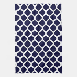 Navy Blue & White Moroccan Towel at Zazzle