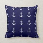 Navy Blue & White Nautical Anchor Pillow