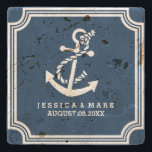 "Navy Blue &amp; White Nautical Both Anchor &amp; Frame Stone Coaster<br><div class=""desc"">Elegant navy blue and white nautical boat anchor and art deco frame. Customizable wedding gift design template.</div>"