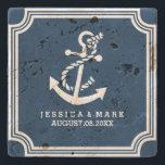 "Navy Blue &amp; White Nautical Both Anchor &amp; Frame Stone Coaster<br><div class=""desc"">Elegant navy blue and white nautical boat anchor and art deco frame. Customizable wedding gift design template.</div>"