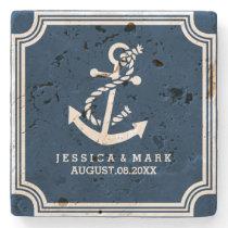 Navy Blue & White Nautical Both Anchor & Frame Stone Coaster