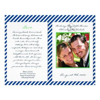 Navy Blue White Nautical Wedding Ceremony Programs Flyer