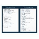 Navy Blue White Nautical Wedding Ceremony Programs Personalized Flyer
