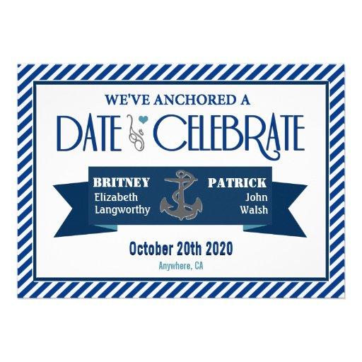 Navy Blue & White Nautical Wedding Invitations