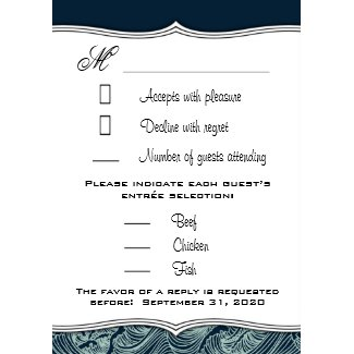 Navy Blue & White Nautical Wedding RSVP Cards invitation