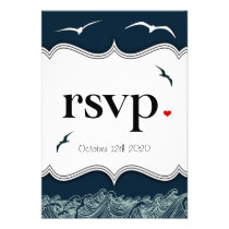 Navy Blue & White Nautical Wedding RSVP Cards Personalized Announcements