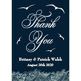Navy Blue & White Nautical Wedding Thank You Cards invitation