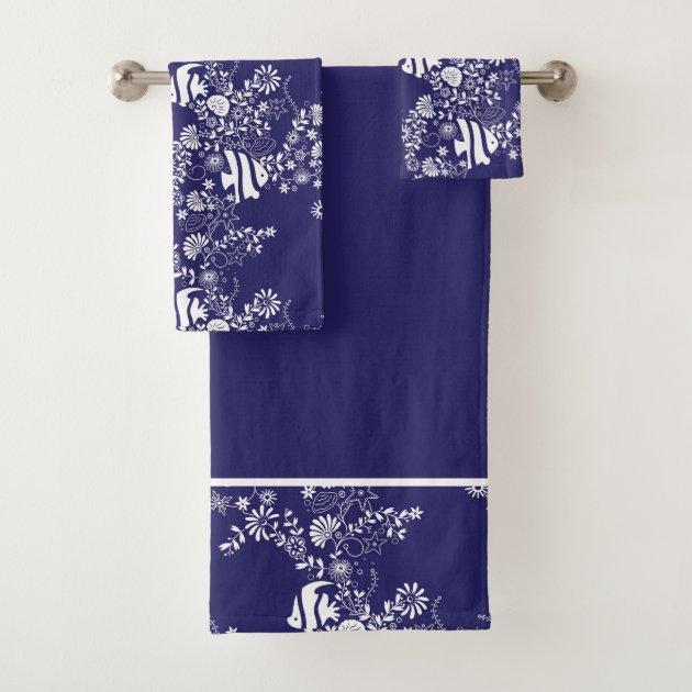 Navy Blue White Ocean Life Pattern Bath Towel Set Zazzle Com