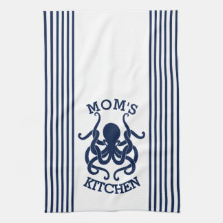Navy Blue & White Octopus And Stripes Combination Hand Towel
