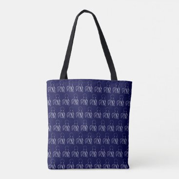 Beach Themed Navy Blue & White Octopus Pattern Tote Bag