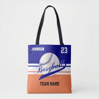 Navy Blue, White, Orange for a Baseball Team Tote Bag