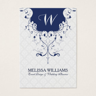 Navy Blue & White Ornate Lace Frame Business Card