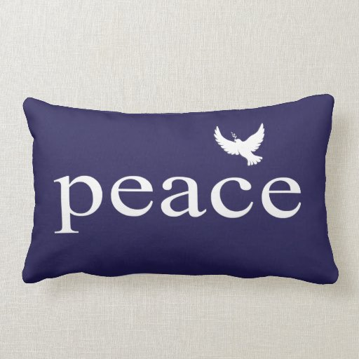 Navy Blue White Peace Quote Pillow