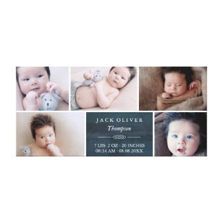 Navy Blue & White Photo Collage Baby Canvas Print