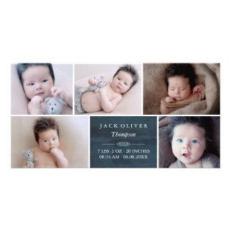 Navy Blue & White Photo Collage Baby Card