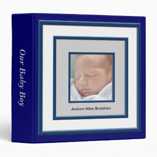 Navy Blue White Photo Frame Baby Boy Album 3 Ring Binder