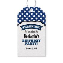 Navy Blue White Polka Dot Birthday Thank You Tags