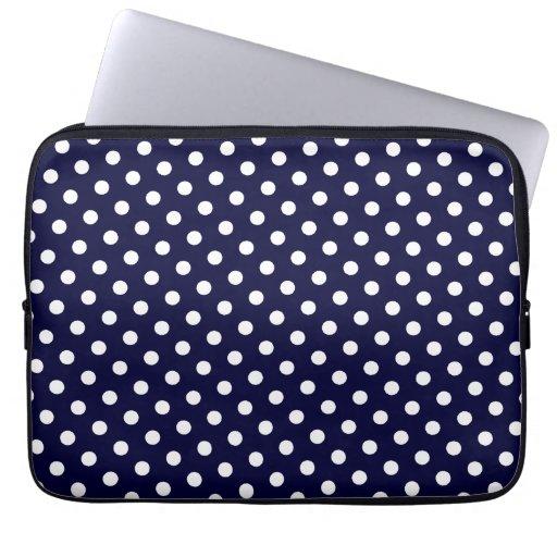 Navy Blue & White Polka Dot Laptop Sleeve