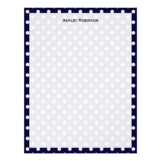 Navy Blue White Polka Dot Pattern Letterhead