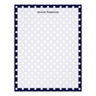 Navy Blue White Polka Dot Pattern Letterhead