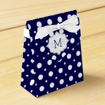 Navy blue white polka dot pattern monogram wedding favor box