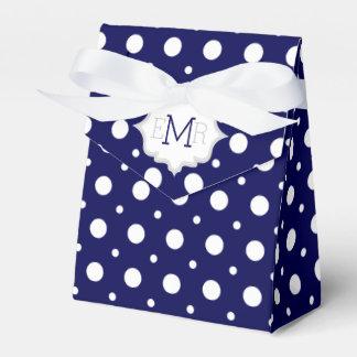 Navy blue white polka dot pattern monogram wedding wedding favor boxes