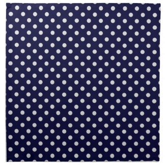Navy Blue White Polka Dot Pattern Printed Napkin