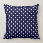 Navy Blue White Polka Dot Pattern Throw Pillow