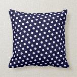 Navy Blue & White Polka Dot Pattern Throw Pillows Pillow