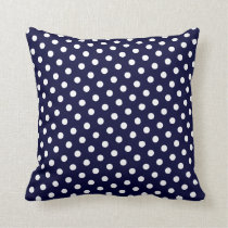 Navy Blue & White Polka Dot Pattern Throw Pillows