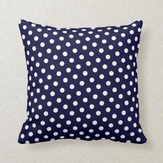 Navy Blue & White Polka Dot Pattern Throw Pillows