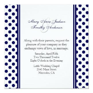 Navy Blue & White Polka Dot Wedding Invitation