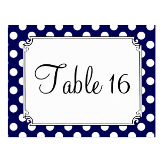 Navy Blue & White Polka Dot Wedding Table Numbers Postcard