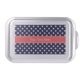 Navy Blue White Polka Dots Coral Name Monogram Cake Pan