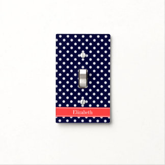 Navy Blue White Polka Dots Coral Name Monogram Light Switch Cover