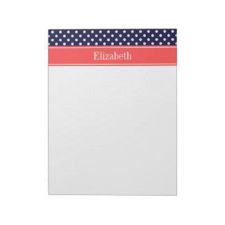 Navy Blue White Polka Dots Coral Name Monogram Notepad