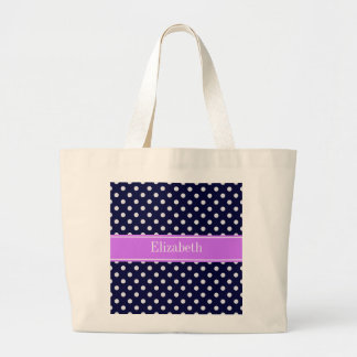 Navy Blue White Polka Dots Lilac Name Monogram Bags