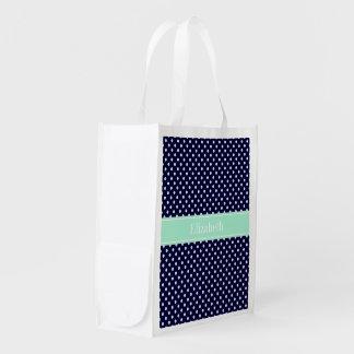 Navy Blue White Polka Dots Mint Name Monogram Grocery Bag