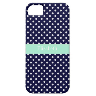 Navy Blue White Polka Dots Mint Name Monogram iPhone SE/5/5s Case