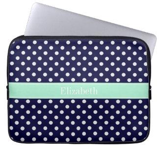 Navy Blue White Polka Dots Mint Name Monogram Laptop Computer Sleeve