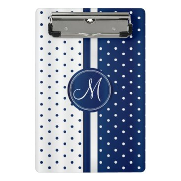 Aztec Themed Navy Blue & White Polka Dots - Monogram Mini Clipboard