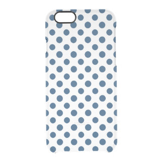Navy Blue White Polka Dots Pattern Clear iPhone 6/6S Case