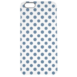 Navy Blue White Polka Dots Pattern Clear iPhone 6 Plus Case