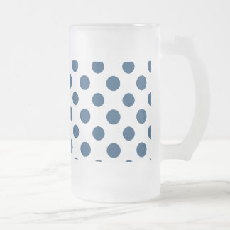 Navy Blue White Polka Dots Pattern Frosted Glass Beer Mug