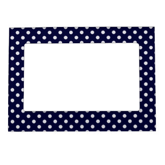 Navy Blue White Polka Dots Pattern Picture Frame Magnets