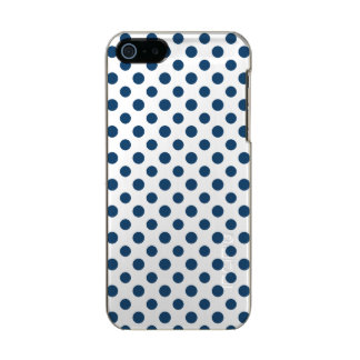 Navy Blue White Polka Dots Pattern Metallic Phone Case For iPhone SE/5/5s
