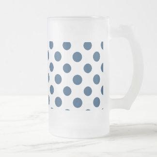 Navy Blue White Polka Dots Pattern Beer Mugs
